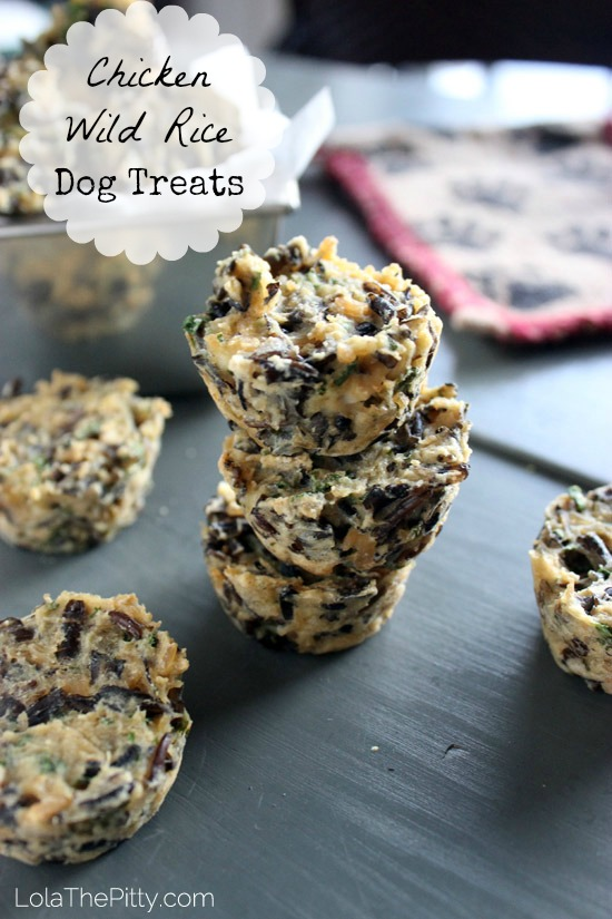 Chicken Wild Rice Dog Treat Recipe - via lolathepitty.com