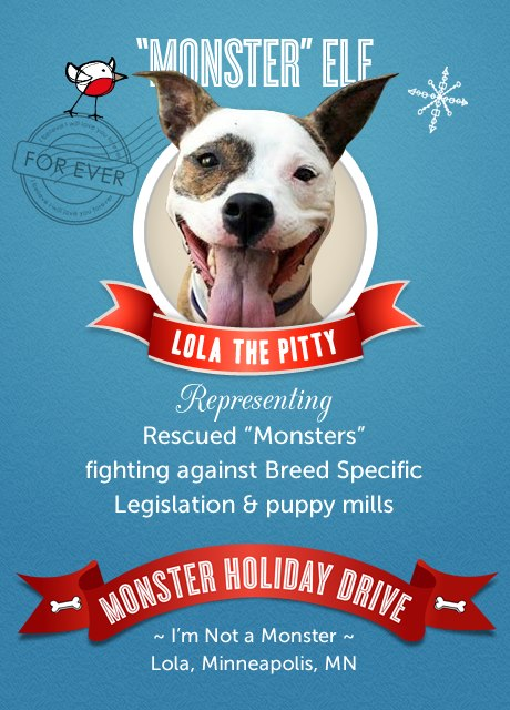 """Monster"" Elf Drive - collecting donated items for dogs & cats in need!"